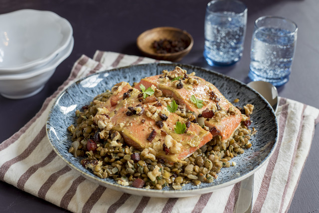 Roasted Sockeye Salmon with Red Wine, Applewood Smoked Bacon & Lentils