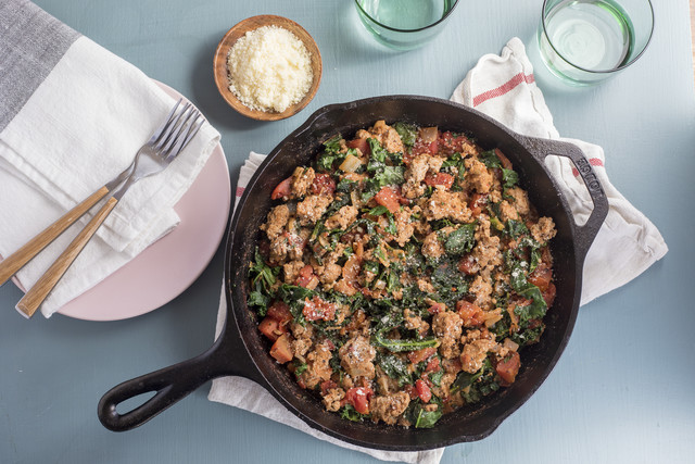 Turkey Parmesan Skillet with Italian Spiced Tomato and Greens