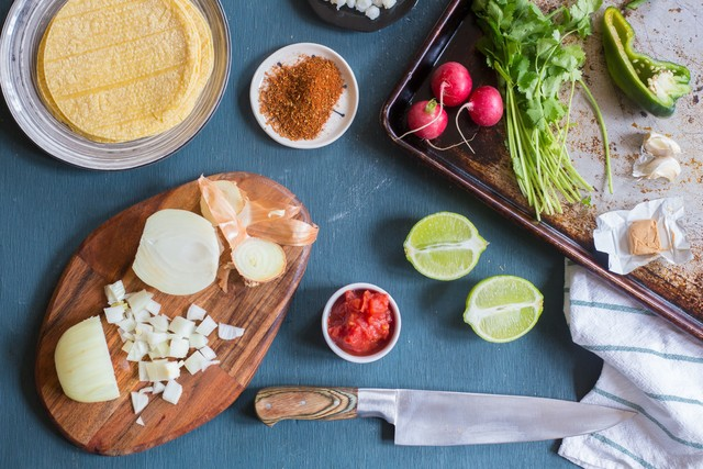 Mise en place for Chicken Pozole with Corn Tortillas, Radish & Lime