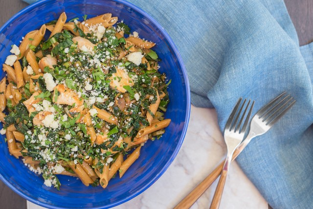 Whole Wheat Penne with Chicken, Kale, and Romano
