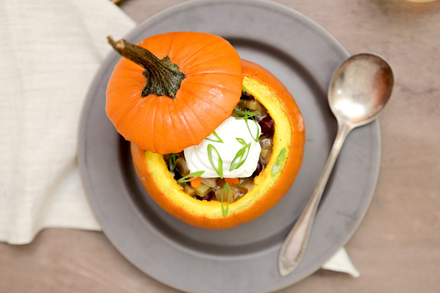 Halloween Three Bean Chili with Pumpkin Merken and Sour Cream