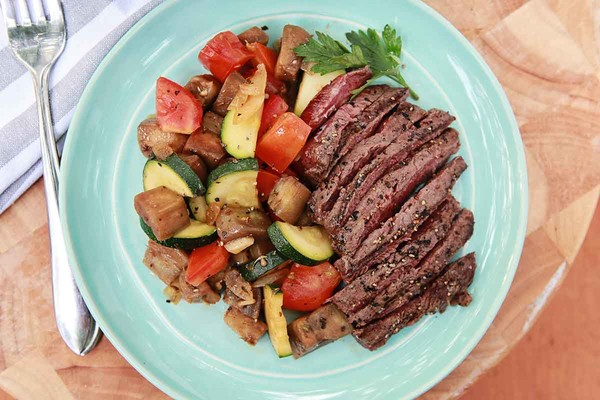 Baguette, Spring Salad and Ratatouille with Hanger Steak
