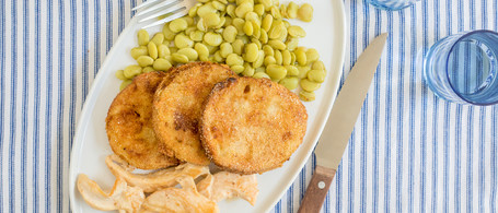 Seared Chicken with White Barbecue Sauce, Butter Beans & Fried Green Tomatoes