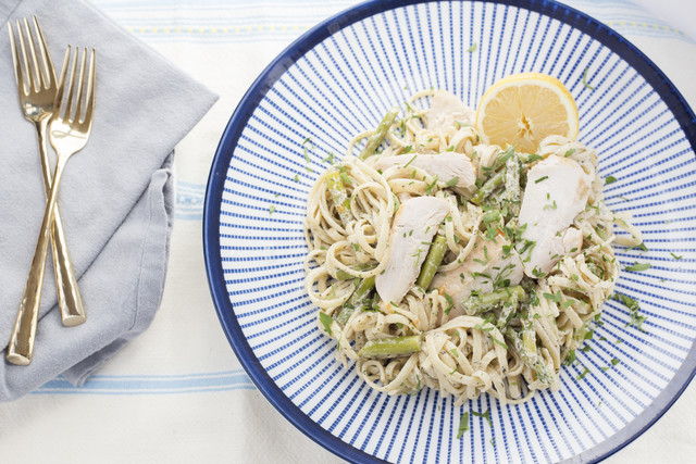Herbed Goat Cheese Linguine with Sliced Chicken Breast & Asparagus