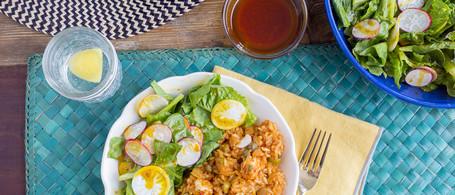 Arroz con Pollo with Green Salad & Annatto-Citrus Vinaigrette