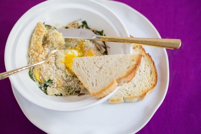 Farm Eggs with Shallot and Arugula