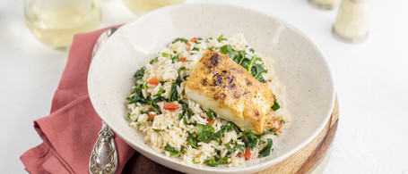 Deviled Cod with Kale & Roasted Red Pepper Pilaf
