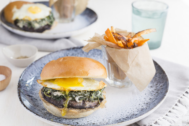Portobello Mushroom and Farm Egg Sandwich with Spinach Goat Cheese and Sweet Potato Fries
