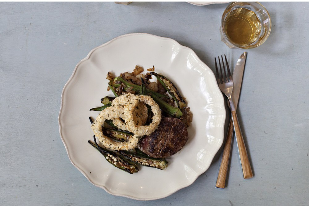 Beef Tenderloin with Herbed Onion Rings & Charred Okra