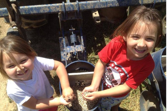 Happy children on a farm