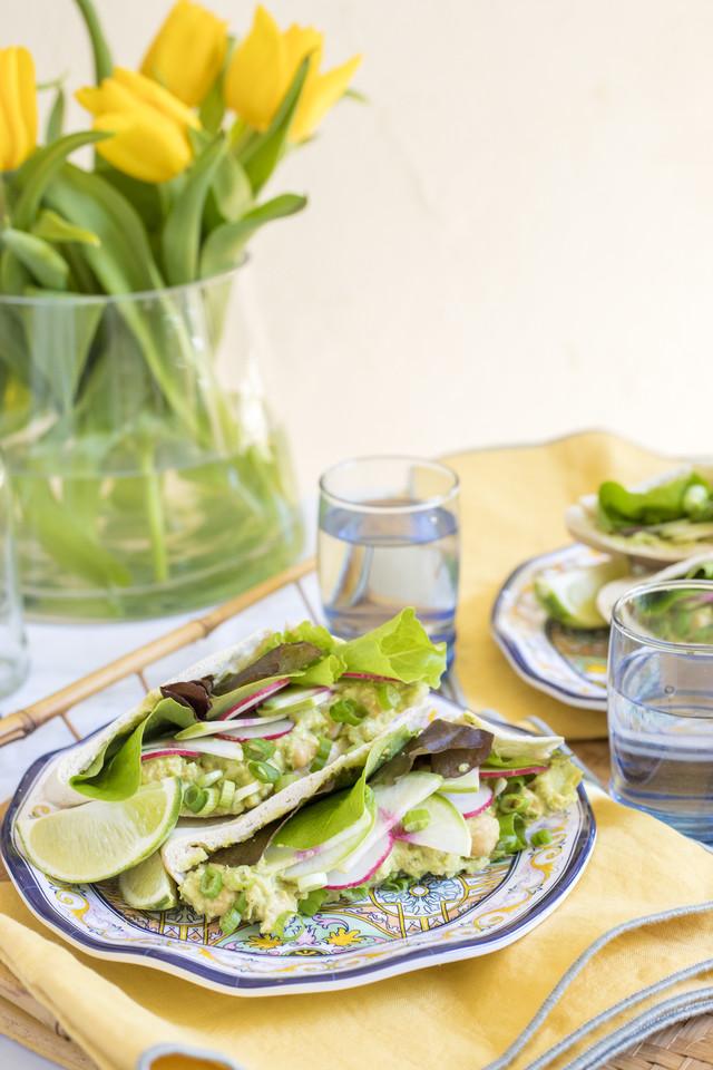 Chickpea & Avocado Stuffed Pita Pocket with Radish & Green Onion